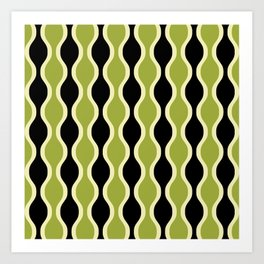 Classic Retro Ogee Pattern 937 Black and Olive Green Art Print
