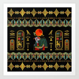 Egyptian Horus Ornament in colored glass and gold Art Print