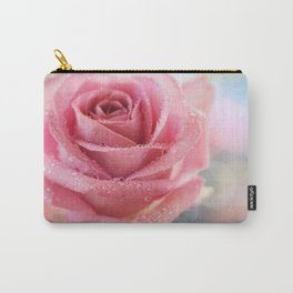 Pink Rose Macro Photograph in vintage pastel tones Carry-All Pouch