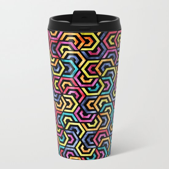 Seamless Colorful Geometric Pattern XXIV Metal Travel Mug