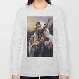 Assault Rifle Jesus Christ Messiah - Who WOuld Jesus Shoot Long Sleeve T-shirt