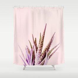 Duotone Aloe Vera on pastel Coral Shower Curtain