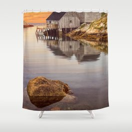 Peggy's Cove Harbor at Sunset in Nova Scotia Shower Curtain