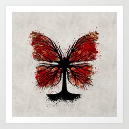 Butterfly Tree - Ink and Red Art Print