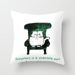 Everywhere is a Scratching Post (Green) Throw Pillow