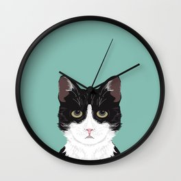 Quinn - Cute black and white cat tuxedo cat gifts for cat lady gift ideas cell phone case with cat Wall Clock