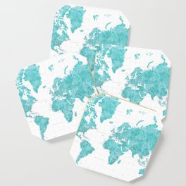 Highly detailed watercolor world map in aquamarine Coaster