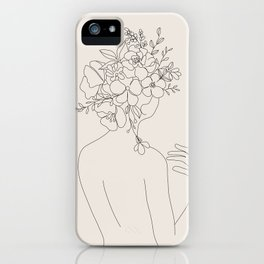 Woman with Flowers Minimal Line II iPhone Case
