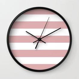 Pale chestnut - solid color - white stripes pattern Wall Clock