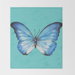 Blue Butterfly Throw Blanket