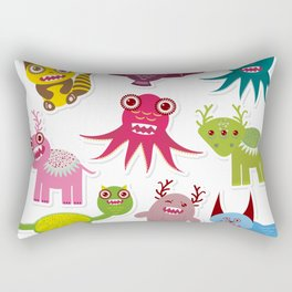 Sticker set Funny monsters collection on white background Rectangular Pillow