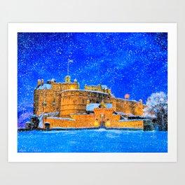 Edinburgh Castle In The Snow On A Winter Night Art Print
