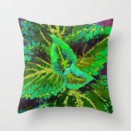 Green Coleus Ornamental Plant - Botanical Art Illustration Throw Pillow