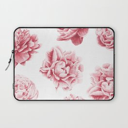 Pink Rose Garden on White Laptop Sleeve