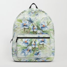 Blue floral watercolor Backpack