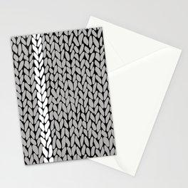Grey Knit With White Stripe Stationery Cards