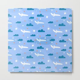 Small flying airplane around clouds Metal Print