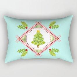 Aqua Holiday Polka Dot Tree Rectangular Pillow