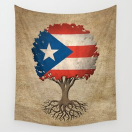 Vintage Tree of Life with Flag of Puerto Rico Wall Tapestry