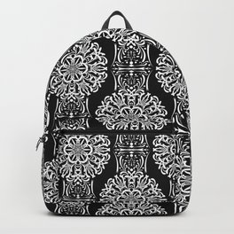 Black and white ornament .damask , damask ornament Backpack