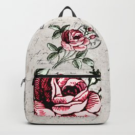 Shabby chic vintage rose and calligraphy Backpack