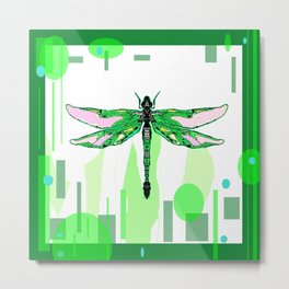 Emerald Green Dragonfly Abstract Metal Print
