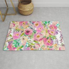 Elegant blush pink lavender green watercolor floral Rug