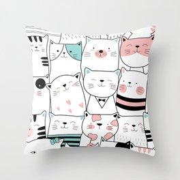 Hipster Cats Throw Pillow