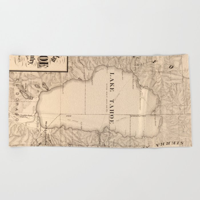 picture relating to Printable Map of Lake Tahoe called Classic Map of Lake Tahoe Calfornia (1874) Seashore Towel