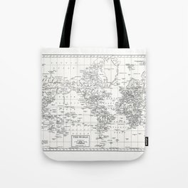 White World Map Tote Bag