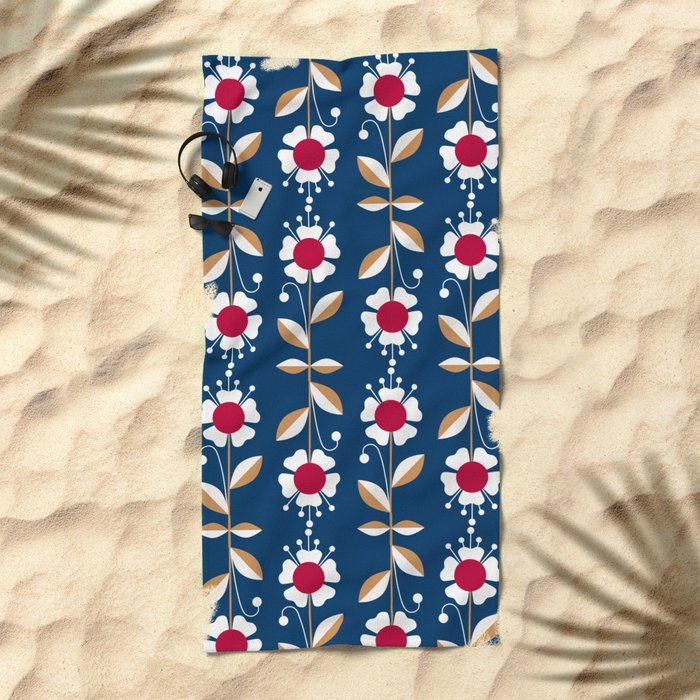 Blue floral pattern . Beach Towel