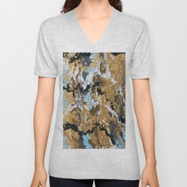 Abstract Music Gold Calypso pattern Unisex V-Neck