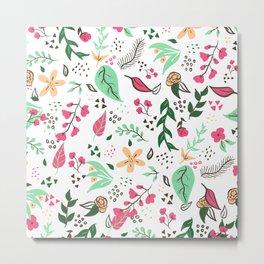 Modern hand drawn spring floral pattern pink green yellow flowers illustration Metal Print