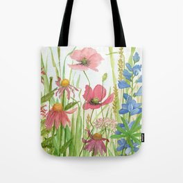 Watercolor Garden Flower Poppies Lupine Coneflower Wildflower Tote Bag