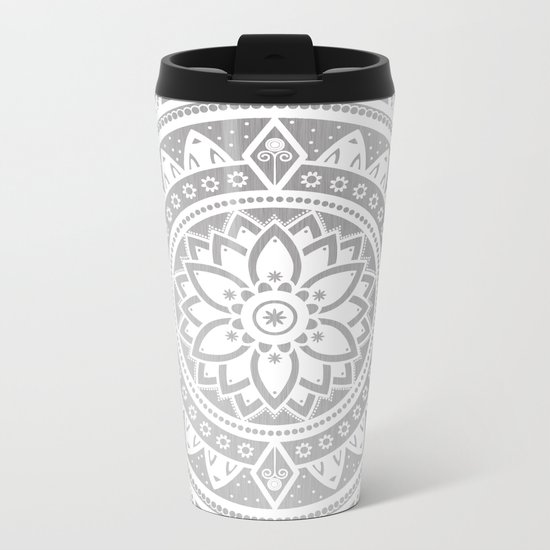 Silver & White Patterned Flower Mandala Metal Travel Mug