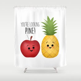 You're Looking Pine! Apple & Pineapple Couple Shower Curtain