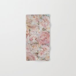 Vintage elegant blush pink collage floral typography Hand & Bath Towel