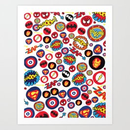 Superhero Stickers Art Print
