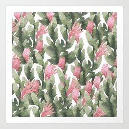 Watercolor pink gable green abstract cactus floral Art Print