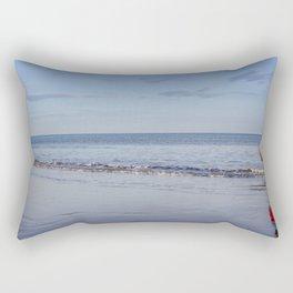 Red Boy on an Autumn Beach Rectangular Pillow