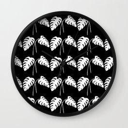 Tropical Monstera Leaves White on Black Wall Clock