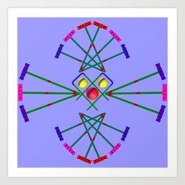 Croquet - Mallets,Balls and Hoops Design Art Print