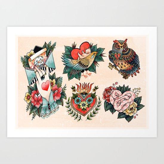 Tattoos of Love Art Print