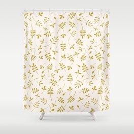 Gold Leaves Design on Cream Shower Curtain