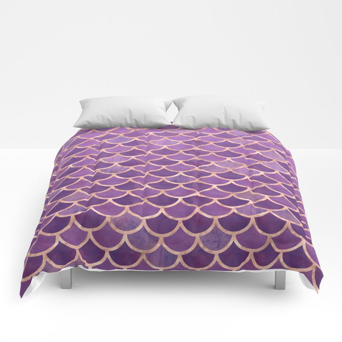 9d7f5a8927 Mermaid Scales Pattern in Purple and Rose Gold Comforters by ...