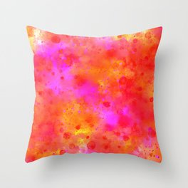 Watercolor Painting Bright Red & Summer Pink Abstract Paint Splashes Throw Pillow