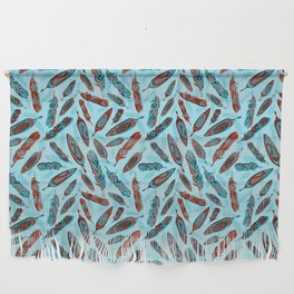Tlingit Feathers Blue Wall Hanging