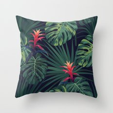 Tropical pattern with Guzmania flowers Throw Pillow