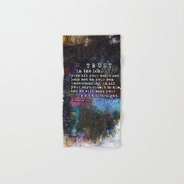Proverbs 3:5-6  Christian Inspired Bible Verse Scripture Art by Michel Keck Hand & Bath Towel