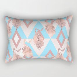 Beautiful Geometric Australian Native Floral Print - Soft pink and blue Rectangular Pillow